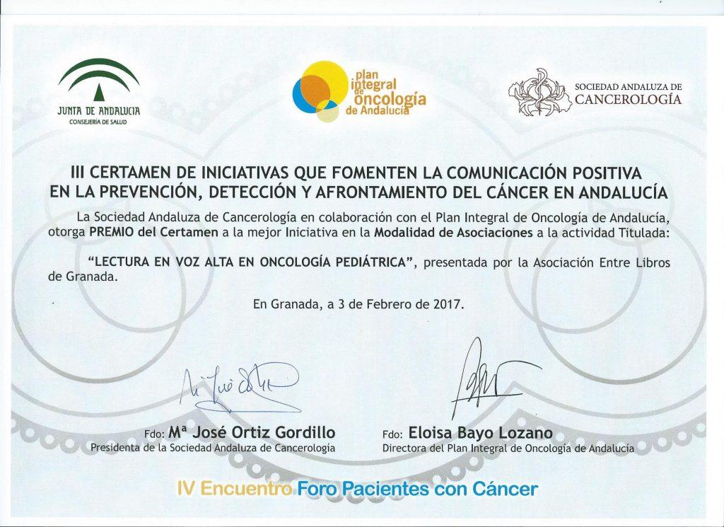 diploma premio oncología